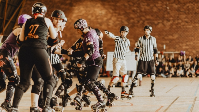 reportage photographique d'un match de roller derby